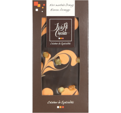 Tablette de chocolat noir marbrée Orange et Ecorces d'oranges - Ile de Ré Chocolats