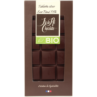 Tablette de chocolat noir BIO 75% Sao Tomé - Ile de Re Chocolats