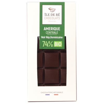 Tablette de chocolat noir BIO 74% Saint Domingue - Ile de Re Chocolats