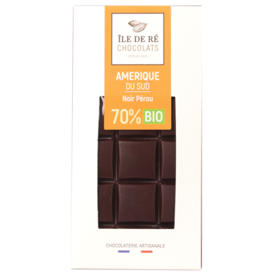 Tablette de chocolat noir BIO 70% Pérou - Ile de Re Chocolats