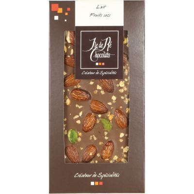 Tablette de chocolat au lait aux fruits secs - Ile de Ré Chocolats