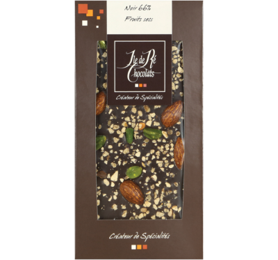 Tablette de chocolat noir aux fruits Secs - Ile de Ré Chocolats