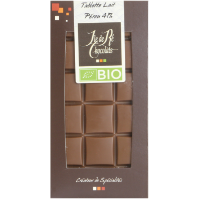 Tablette de chocolat au lait BIO 41% Pérou - Ile de Re Chocoats